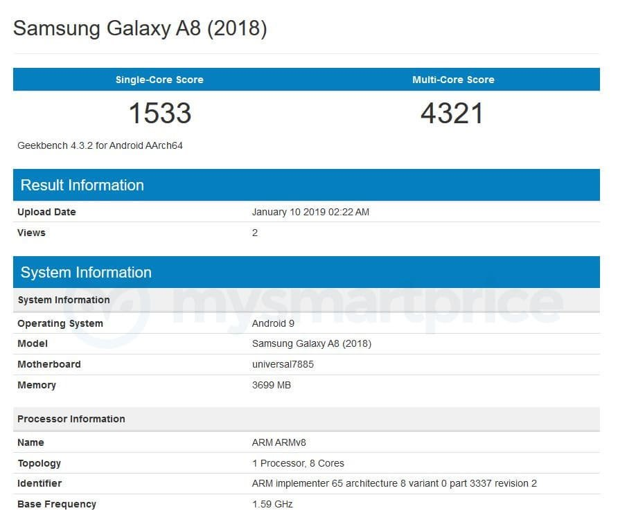 Samsung Galaxy A8 (2018) Spotted on Geekbench With Android Pie