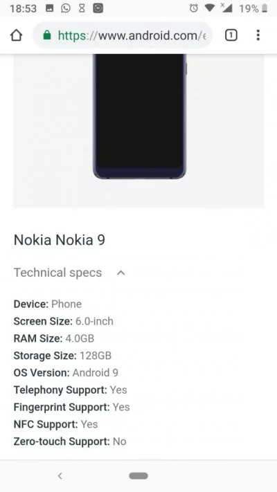 Nokia 9 Pureview Android Enterprise Listing